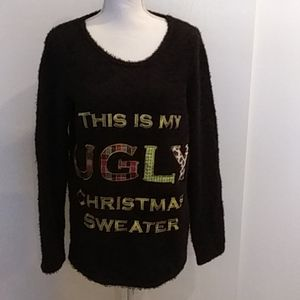 🎅💚❤UGLY Christmas Sweater Black Size 12-14